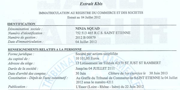 Ninja squad a 5 ans ninja squad - Extrait kbis chambre des metiers ...